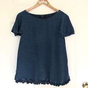 Banana Republic Chambray Ruffle Top